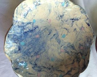 Art Platter,Decorative Platter,Blue Art Platter,Ceramic Platter,Thrown Platter,Rustic Platter,Pottery Platter,Boho Platter,Organic Platter