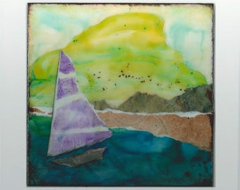 Small abstract landscape painting ~ Mixed media ~ Original  ~ Colorful contemporary artwork  ~ DROWSY LAKE