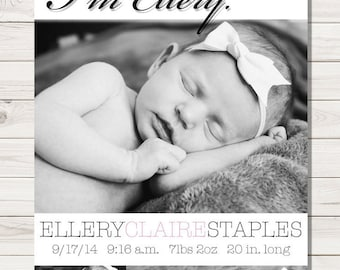 Hi. Baby Girl Birth Announcement - Pink and White Polka Dot New Baby Announcement