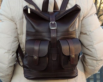 "Brown leather backpack ""Alejo"""