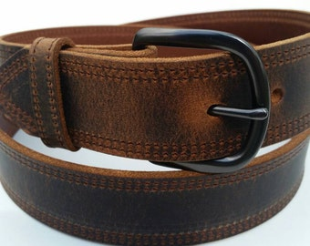 "1-1/2"" Double Stitched Full Grain Water Buffalo Leather Belt"