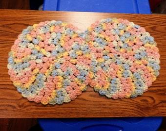 Handmade Set of 2 Round Multicolored Crochet Trivet Potholder