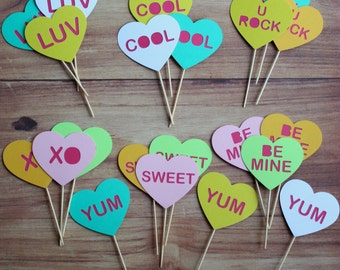 Heart Cupcake Toppers (set of 21)