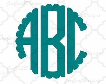 Scalloped Circle Monogram Svg, Font Alphabet, Svg Fonts, Cricut Fonts, Svg Dxf Eps Cricut, Silhouette, Digital Cut Files, Instant Download