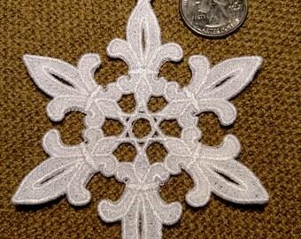 Fleur de Lis Snowflake Christmas Ornament - 1