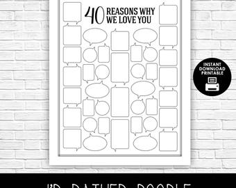 52 reasons i love you template free download - 40th birthday etsy