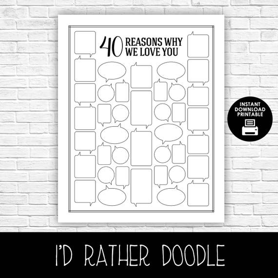 40 Reasons Why We Love You Reasons We Love You Printable