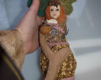 Autumn Forest Spirit Doll, Pagan or Shamanic Talisman, Sculpted Faerie Figure