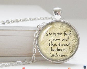 LIttle Women Necklace Pendant, Louisa May Alcott, literary necklace, teacher jewelry, book lover, English Lit, silver necklace