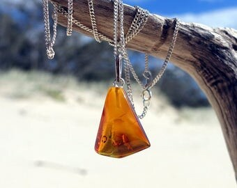Baltic Amber Necklace Pendant, Sterling Silver Baltic Amber Pendant, Honey Cognac Amber Pendant, Baltic Amber Jewelry