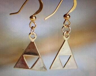 Legend of Zelda Triforce earrings, Legend of Zelda Triforce necklace, Legend of Zelda, Zelda jewelry, Zelda costumes, Zelda clothing, Zelda