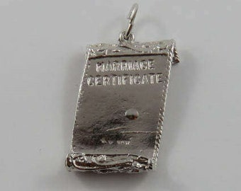Marriage Certificate Sterling Silver Vintage Charm For Bracelet