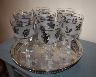 Silver Leaf Frosted Vintage Libbey Water Glasses: 7-Piece Set
