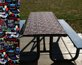Birthday Tablecloth • Fitted Table Cover • Fitted Table Cloth • Fitted Picnic Tablecloth • Folding Table Cover • Birthday Chalkboard Print