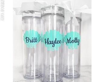 6 Custom Skinny Tumblers Bridal Set Personalized Cups Bridal Shower Gift Wedding