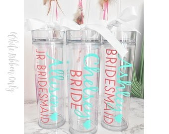 10 Custom skinny tumblers, bridal set, personalized cups, bridal shower gift, wedding gift, wedding favors, bridesmaids gift, wedding cup