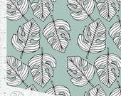 Monstera Leaf Elvelyckan Designs Gots Certified Cotton Jersey in Dusty Mint  **UK seller**