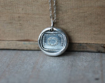 Chain wax seal fine silver charm