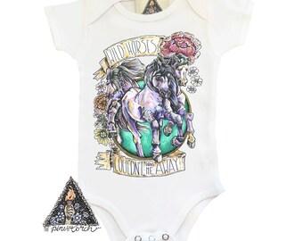 WILD HORSES Bodysuit / Horses Wild Child Baby hand illustrated shirt / wild baby / wild child baby / horses baby