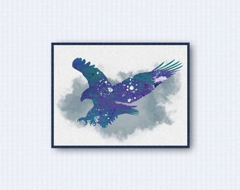 American Bald Eagle Watercolor Poster