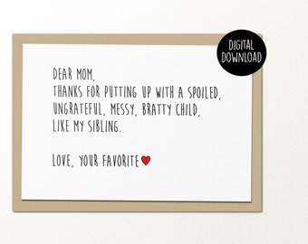 dear mom // printable greeting card // printable mothers day card