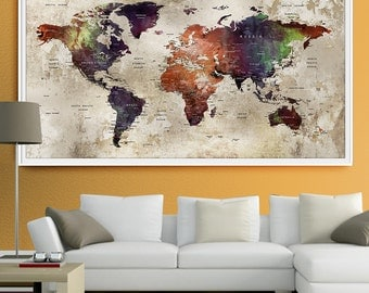 Abstract large wall art turquoise world map art prints home world map wall art print large wall art push pin world map art extra sciox Images