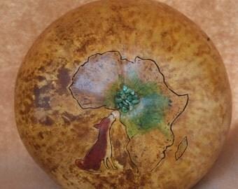 Red Basenji round cremation gourd Africa urn.