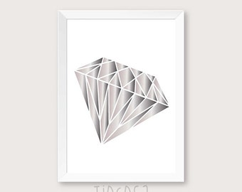 diamond printable art, diamond home decor, diamond wall decor, diamond art, Diamond print, Geometric Poster