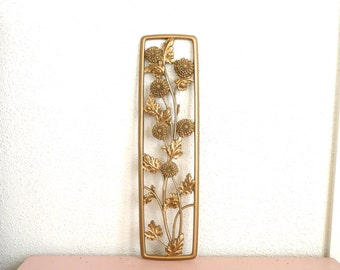 Vintage Gold Syroco Mums Wall Hanging