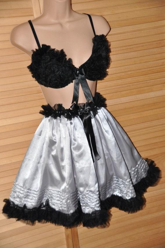 Silky satin petticoat with fluffy bra, lovely Sissy Lingerie for dressing up games