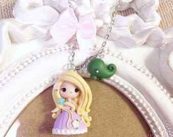 Fimo Polymer Clay necklace Kawaii Cute Chibi Rapunzel Disney tiny Princess Princess fairy tale Ribbon Flowers Handmade gift Pascal