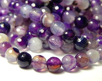15 Inch Strand - 8mm Faceted Agate Beads - Medium Orchid - Gemstone Beads - Jewelry Supplies