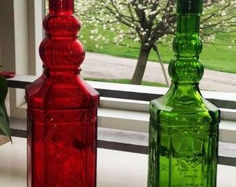 VINTAGE COLORED LOT 2 Bottles, Elegant Red and Green Tall Corked Bottles, Christmas Vintage Bottles