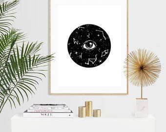 Celestial Eye Luxury Pen & Ink Illustration Print - A5 or A4