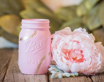 Pink Baseball Centerpiece Mason Jar Wedding Party Vase Gold Rustic Farmhouse Decor Painted