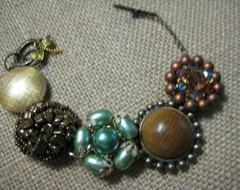 Vintage Earring Bracelet, OOAK, Repurposed Vintage Earrings, Earth tones, Browns Green, Autumn Fall,  Eco Friendly, Recycled Upcycled /21