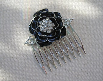 Vintage Hair Comb Bridal Silver Black Enamel Rhinestones Wedding Gift for Her Repurposed Jewelry Recycled Upcycled Eco Friendly ooak /3