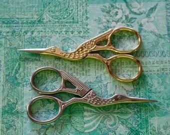 Small Vintage Style Scissors, Crane Scissors, Embroidery Scissors, Needlepoint Scissors, Stork Scissors, Gold Scissors, Silver Scissors