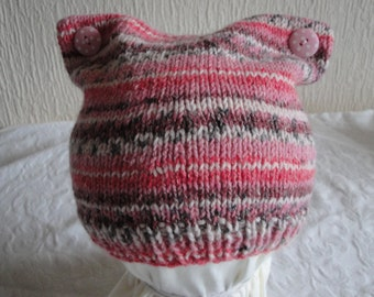 pink toddler cap, cat ear hat, cap age 1-2 yrs, stripy knit baby hat, baby cap for spring, patterned baby hat, fair isle cap, button ear cap