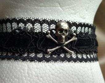 Skull & Crossbones Choker, Black Lace Choker, Gothic Choker, Pirate Skull and Crossbones, one size fits all, Elastic Tie Choker