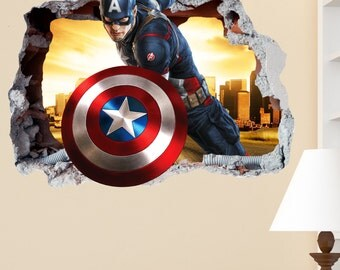 Captain America Decal Etsy