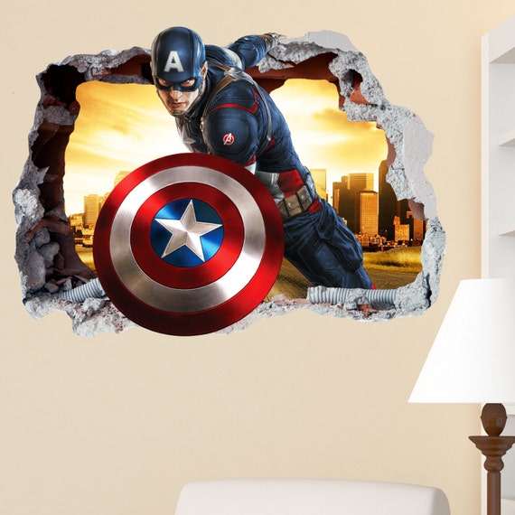 captain america smashed wall sticker in wall crack superhero