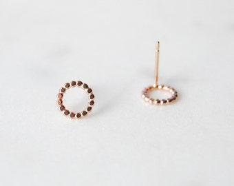 Flat Circle Earrings, Circle Earrings, 14k Rose Gold Filled Circle Earrings, Rose Gold Circle Earrings, Rose Gold Earrings