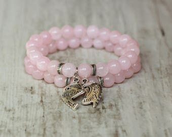 mother daughter matching family bracelet gift for mother bracelet from daughter gift pink bracelet quartz gemstone jewelry natural stone