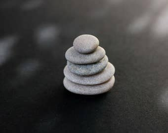 Miniature Stone Cairn - Tiny Gray Pebbles - Zen Balance Stones - Fairy Garden