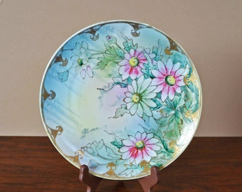 Vintage Hand Painted Ceramic Plate, Watercolor Flowers With Gold Accents