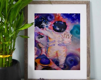 Astronaut Art Prints, Wall Art, Posters, Home Decor, Room Decor, Abstract Art, Oil Painting, Psychedelic Art, Outer space, Galaxy Art, Stars