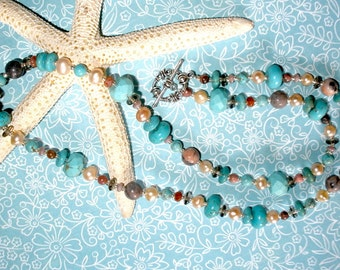 LONG PEARL GEMSTONE Necklace, Handcrafted Pearl Necklace, Pearls Turquoise Rhodonite, Tibetan Silver Clasp