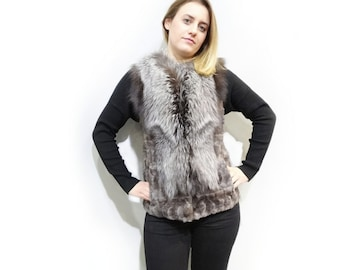 Gray Fur Vest with Silver Fox Collar F495