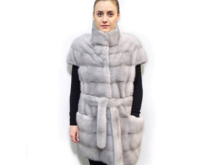 Fur mink Vest,Long Sleeveless jacket F530